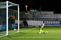 GOAL - Callum Reilly of AFC Wimbledon beats Sam Sargeant of Leyton Orient with his shot during the The Leasing.com Trophy match between AFC Wimbledon and Leyton Orient at the Cherry Red Records Stadium, Kingston, England on 8 October 2019. Photo by Carlton Myrie / PRiME Media Images.