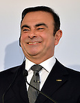 May 10, 2013, Yokohama, Japan - President Carlos Ghosn of Nissan Motor Co. flashes a big smile as he start to present its annual net profit during a news conference at the head office in Yokohama, south of Tokyo, on Friday, May 10, 2013. Nissan reported the slowest annual profit growth among Japanese automakers as a Sino-Japanese political dispute backfired, hitting Japan's No. 2 automaker hard when Chinese consumer began to boycott Japanese products in September last year.  (Photo by Natsuki Sakai/AFLO)