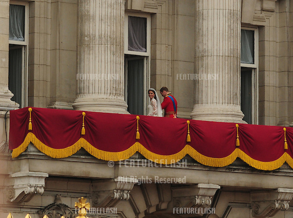 The wedding of HRH Prince William and Catherine Middleton, or the newly appointed Duke and Duchess of Cambridge, as they arrive at Buckingham Palace for the lunch reception, on 29/04/2011. Picture by: Simon Burchell / Featureflash