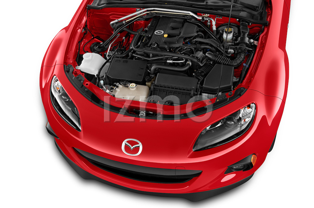 Car Stock 2015 Mazda MX-5 Miata Club Auto 2 Door Convertible Engine high angle detail view