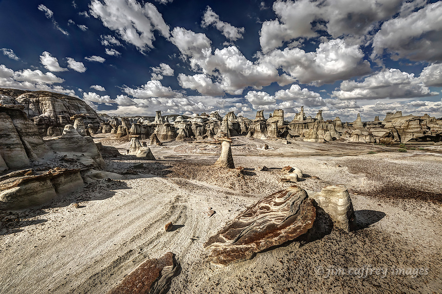 Unusually eroded rocks with hoodoos in the background near Alamo Wash in the Bisti Wilderness of northwestern New Mexico.