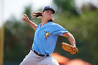 Tampa Bay Rays pitcher Mikey York (99) delivers a pitch during an Instructional League game against the Baltimore Orioles on October 2, 2017 at Ed Smith Stadium in Sarasota, Florida.  (Mike Janes/Four Seam Images)