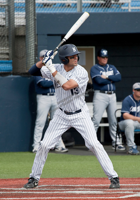 March 30, 2012:   Nevada Wolf Pack's Carlos Escobar bats against the BYU Cougars during their NCAA baseball game played at Peccole Park on Friday afternoon in Reno, Nevada.