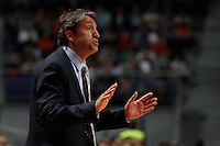 01.04.2012 SPAIN - ACB match played between Real Madrid vs Unicaja  at Palacio de los deportes stadium. The picture show Luis Casimiro coach Unicaja