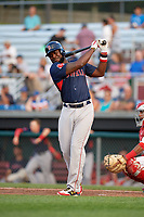 Lowell Spinners designated hitter Brandon Phillips (7) takes a warmup swing in the top of the fifth inning during a game against the Auburn Doubledays on July 13, 2018 at Falcon Park in Auburn, New York.  Phillips was promoted to Triple-A Pawtucket after the game; the former All-Star signed a minor league free agent deal with the Boston Red Sox June 27th and played six games with the Spinners batting .318 with one home run and 7 RBI's.  Lowell defeated Auburn 8-5 in ten innings (Mike Janes/Four Seam Images)