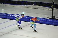 SCHAATSEN: HEERENVEEN: 25-10-2014, IJsstadion Thialf, Marathonschaatsen, KPN Marathon Cup 2, Simon Schouten (#38), Arjan Stroetinga (15), ©foto Martin de Jong