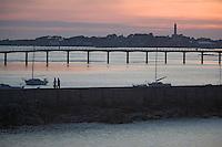 Europe/France/Bretagne/29/Finistère/Roscoff: soleil couchant sur le port en fond l'ile de Batz