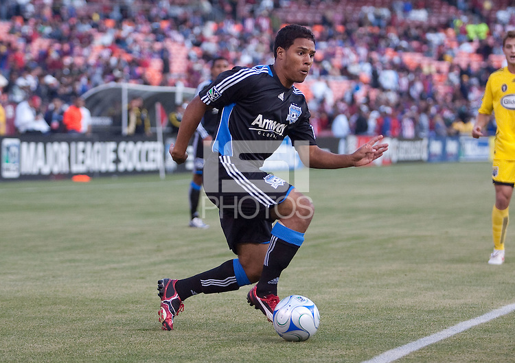 Quincy Amarikwa drives in the ball.The Columbus Crew defeated the San Jose Earthquakes 3-0 at Candlestick Park in San Francisco, California on August 8, 2009.