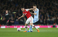 Arsenal's Granit Xhaka and Leeds United's Mateusz Klich<br /> <br /> Photographer Rob Newell/CameraSport<br /> <br /> Emirates FA Cup Third Round - Arsenal v Leeds United - Monday 6th January 2020 - The Emirates Stadium - London<br />  <br /> World Copyright © 2020 CameraSport. All rights reserved. 43 Linden Ave. Countesthorpe. Leicester. England. LE8 5PG - Tel: +44 (0) 116 277 4147 - admin@camerasport.com - www.camerasport.com