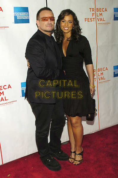 "BONO (PAUL HEWSON) & ALICIA KEYS.6th Annual Tribeca Film Festival - ""We Are Together (Thina Simunye)"", An HBO Documentary Film, New York City, New York, USA..April 26th, 2007.full length black suit dress sunglasses shades .CAP/ADM/BL.©Bill Lyons/AdMedia/Capital Pictures"