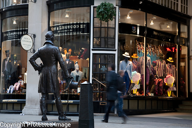 Beau Brummel Monument and the Piccadilly Arcade in Jermyn Street in London, England, UK