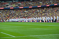 Flag bearers before the Johnstone's Paint Trophy FINAL match between Oxford United and Barnsley at Wembley Stadium, London, England on 3 April 2016. Photo by Alan  Stanford / PRiME Media Images.