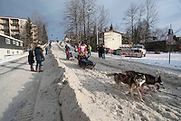 Lisbet Norris and team run past spectators on the bike/ski trail with an Iditarider in the basket during the Anchorage, Alaska ceremonial start on Saturday, March 5, 2016 Iditarod Race. Photo by O'Hara Shipe/SchultzPhoto.com