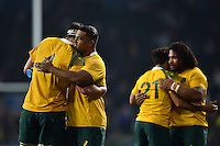 Australia players celebrate at the final whistle. Rugby World Cup Pool A match between England and Australia on October 3, 2015 at Twickenham Stadium in London, England. Photo by: Patrick Khachfe / Onside Images