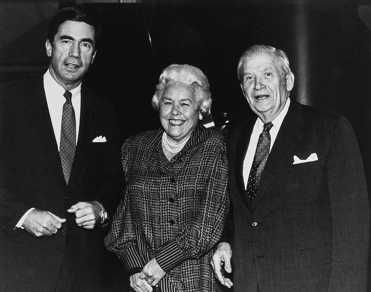 Sen. Chuck Robb, D-Va., Sen. Terry Sanford, D-N.C., and his wife Margaret Rose Knight on Oct. 17, 1989. (Photo by Maureen Keating/CQ Roll Call)