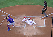Washington Nationals second baseman Danny Espinosa (8) scores his team's first run in the first inning against the New York Mets at Nationals Park in Washington, D.C. on Monday, July 20, 2015.<br /> Credit: Ron Sachs / CNP<br /> (RESTRICTION: NO New York or New Jersey Newspapers or newspapers within a 75 mile radius of New York City)