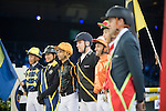 Jockey and riders walk the course before the Hong Kong Jockey Club Race of the Riders, part of the Longines Masters of Hong Kong on 10 February 2017 at the Asia World Expo in Hong Kong, China. Photo by Victor Fraile / Power Sport Images