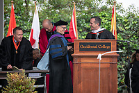 Conferring of Honorary Degree and Response - Eric Michael Garcetti, Mayor of Los Angeles and Anthony Chase, Professor.<br /> Families, friends, faculty, staff and distinguished guests celebrate the class of 2019 during Occidental College's 137th Commencement ceremony on Sunday, May 19, 2019 in the Remsen Bird Hillside Theater.<br /> (Photo by Marc Campos, Occidental College Photographer)