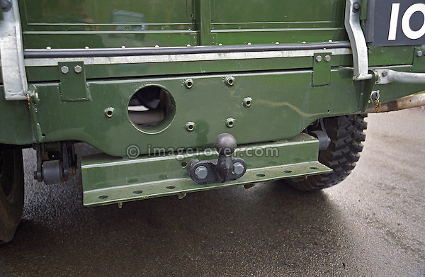 Agricultural style draw bar on a perfectly restored and award winning 1953 Land Rover Series One 80 inch. --- No releases available. Automotive trademarks are the property of the trademark holder, authorization may be needed for some uses.