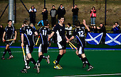 Scotland V Wales U18 International hockey match, played at the SportScotland National Centre, Largs - Niall MacLeod (centre, facing camera) celebrates scoring the only goal of the game to give the Scots victory in the first of a 3 match series. MacLeod, who plays for Stepps in the National Hockey League, was making his international debut in the game - Picture by Donald MacLeod 03.04.10