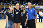 DURHAM, NC - NOVEMBER 24: Duke's Cadie Bates was honored with her family on Senior Day. The Duke University Blue Devils hosted the University of North Carolina Tar Heels on November 24, 2017 at Cameron Indoor Stadium in Durham, NC in a Division I women's college volleyball match. Duke won 3-0 (25-21, 25-22, 25-20).
