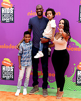 LOS ANGELES - July 13:  Corey Brewer, Monique , kids at the Nickelodeon Kids' Choice Sports Awards 2017 at the Pauley Pavilion on July 13, 2017 in Westwood, CA