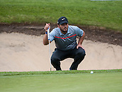 22.05.2015. Wentworth, England. BMW PGA Golf Championship. Round 2. Francesco Molinari [ITA] lines up a putt on the 18th Green.