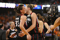 6 April 2008: Stanford Cardinal Jillian Harmon and Jayne Appel during Stanford's 82-73 win against the Connecticut Huskies in the 2008 NCAA Division I Women's Basketball Final Four semifinal game at the St. Pete Times Forum Arena in Tampa Bay, FL.