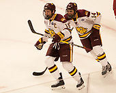 Dominic Toninato (UMD - 19), Alex Iafallo (UMD - 14) - The University of Minnesota Duluth Bulldogs defeated the Harvard University Crimson 2-1 in their Frozen Four semi-final on April 6, 2017, at the United Center in Chicago, Illinois.