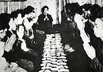 Group breakfast of Japanese citizens during the Pacific campaigns of World War II from 1937 to 1945. (Photo by Kingendai Photo Library/AFLO)