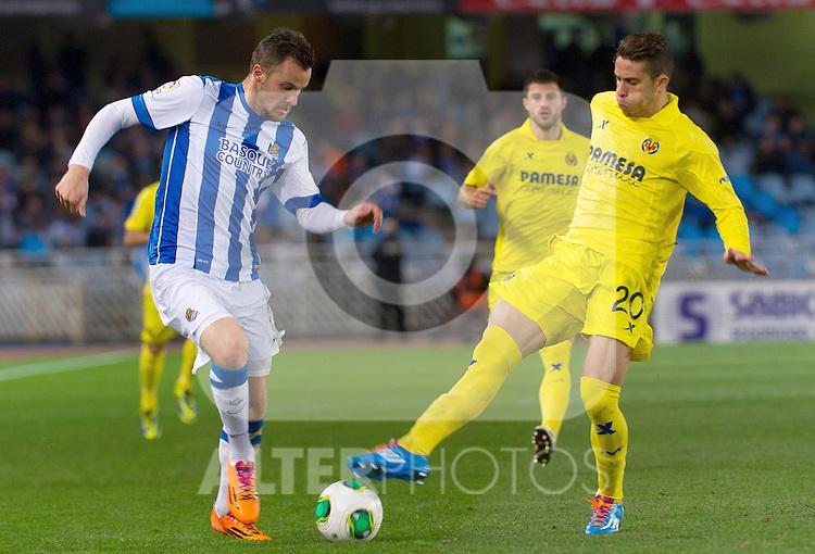 Real Sociedad's Haris Seferovic (l) and Villareal's Gabriel Armando de Abreu during Copa del Rey match.November 23,2013. (ALTERPHOTOS/Mikel)