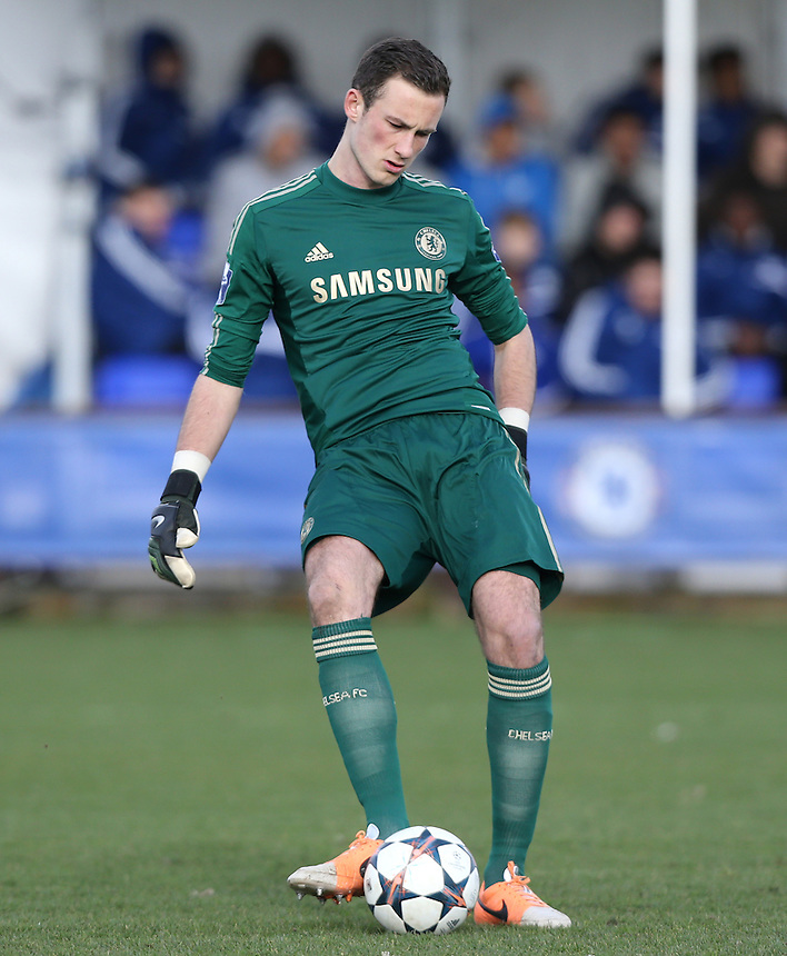 Mitchell Beeney of Chelsea<br /> <br /> Photo by Rob Newell/CameraSport<br /> <br /> Football - UEFA Youth League last 16 - Chelsea U19 v AC Milan U19 - Tuesday 25th February - Cobham - London<br /> <br /> &copy; CameraSport - 43 Linden Ave. Countesthorpe. Leicester. England. LE8 5PG - Tel: +44 (0) 116 277 4147 - admin@camerasport.com - www.camerasport.com