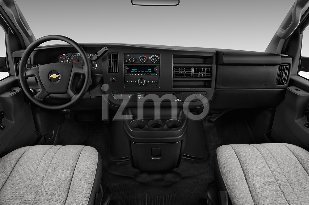 Stock photo of straight dashboard view of a 2017 Chevrolet Express 3500 3500 Extended Work Van 4 Door Cargo Van