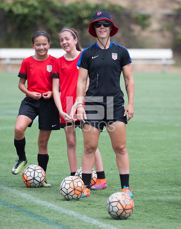 Carson, CA - August 2, 2017: Girls Fantasy Camp trains on the StubHub Center fields.