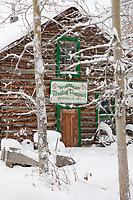 Historic general store log cabin in winter, Wiseman, Arctic, Alaska.