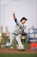 Grant Holmes (14) of the Rancho Cucamonga Quakes pitches against the Lancaster JetHawks at The Hanger on April 19, 2016 in Lancaster, California. Rancho Cucamonga defeated Lancaster, 10-6. (Larry Goren/Four Seam Images)