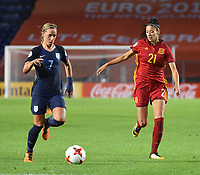 20170723 - BREDA , NETHERLANDS : English Jordan Nobbs (L) and Spanish Leila Ouahabi (R) pictured during the female soccer game between England and Spain  , the second game in group D at the Women's Euro 2017 , European Championship in The Netherlands 2017 , Sunday 23 th June 2017 at Stadion Rat Verlegh in Breda , The Netherlands PHOTO SPORTPIX.BE | DIRK VUYLSTEKE
