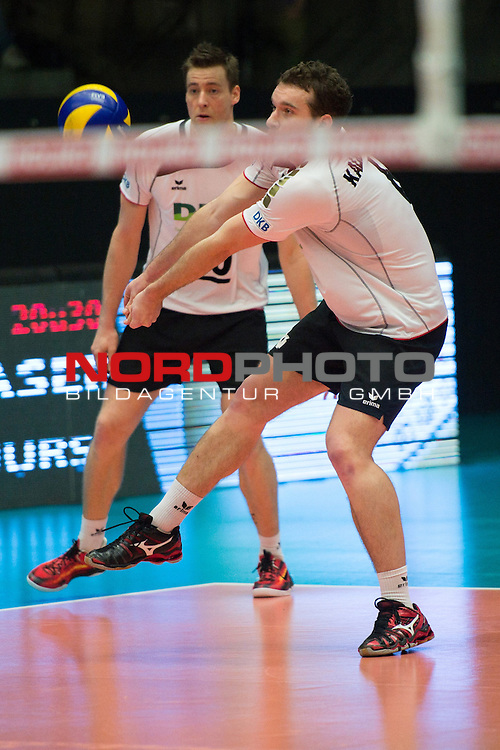 29.12.2013, Lotto Dome, Maaseik<br /> Volleyball, Belgien vs. Deutschland<br /> <br /> Annahme Denis Kaliberda (#6 GER)<br /> <br />   Foto &copy; nordphoto / Kurth