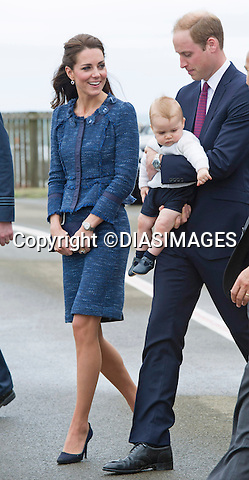 PRINCE GEORGE AND PARENTS KATE AND PRINCE WILLIAM<br /> deaprt New Zealand on a Royal Australian Air Force plane from the Military Terminal at Wellington Airport at the end of their 10-dayTour of New Zealand_16/04/2014<br /> The leg of the tour takes to Australia<br /> Mandatory Photo Credit: &copy;Francis Dias/DiasImages<br /> <br /> **ALL FEES PAYABLE TO: &quot;NEWSPIX INTERNATIONAL&quot;**<br /> <br /> PHOTO CREDIT MANDATORY!!: NEWSPIX INTERNATIONAL(Failure to credit will incur a surcharge of 100% of reproduction fees)<br /> <br /> IMMEDIATE CONFIRMATION OF USAGE REQUIRED:<br /> Newspix International, 31 Chinnery Hill, Bishop's Stortford, ENGLAND CM23 3PS<br /> Tel:+441279 324672  ; Fax: +441279656877<br /> Mobile:  0777568 1153<br /> e-mail: info@newspixinternational.co.uk