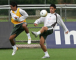 Mexico national soccer team players Alberto Medina (L) and Gonzalo Pineda train a soccer session at the Centro Pegaso training center, March 27, 2006. Photo by Javier Rodriguez
