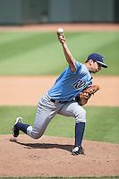 Wilmington Blue Rocks relief pitcher Derek Gordon (31) in action against the Winston-Salem Dash at BB&T Ballpark on June 5, 2016 in Winston-Salem, North Carolina.  The Dash defeated the Blue Rocks 4-0.  (Brian Westerholt/Four Seam Images)
