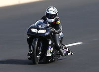 Jul. 20, 2013; Morrison, CO, USA: NHRA pro stock motorcycle rider Katie Sullivan during qualifying for the Mile High Nationals at Bandimere Speedway. Mandatory Credit: Mark J. Rebilas-