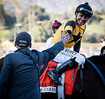 ARCADIA, CA: #7 Hard Not To Love and jockey Mike Smith after their win in the Grade I La Brea Stakes at Santa Anita Park in Arcadia, California on December 28, 2019.