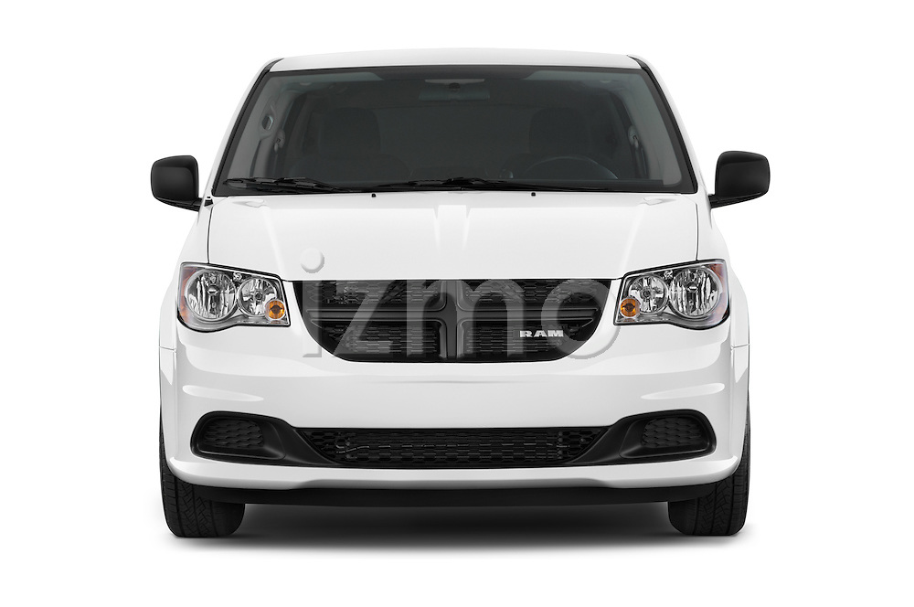Car photography straight front view of a 2015 Ram base tradesman 5 Door Cargo Van