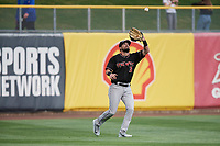 David Dahl (3) of the Albuquerque Isotopes on defense against the Salt Lake Bees at Smith's Ballpark on April 5, 2018 in Salt Lake City, Utah. Salt Lake defeated Albuquerque 9-3. (Stephen Smith/Four Seam Images)