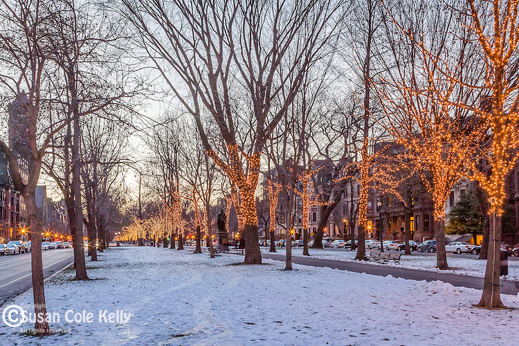 Winter lights on Commonwealth Avenue in the Back Bay, Boston, Massachusetts, USA