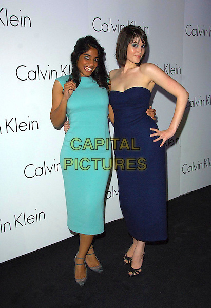 AMARA KARAN & GEMMA ARTERTON.Attending a presentation of Calvin Klein's new collection at P3, Marylebone Road, London, England, .October 15th 2007..party full length green dress strapless bue.CAP/CAS.©Bob Cass/Capital Pictures.