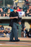 Home plate umpire Phil Bando prior to the start of the Pioneer League game between the Missoula Osprey and the Billings Mustangs at Dehler Park on August 21, 2017 in Billings, Montana.  The Osprey defeated the Mustangs 10-4.  (Brian Westerholt/Four Seam Images)