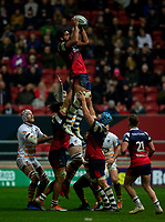 Bristol Bears' Steven Luatua claims the lineout<br /> <br /> Photographer Bob Bradford/CameraSport<br /> <br /> Gallagher Premiership - Bristol Bears v Wasps - Friday 15th February 2019 - Ashton Gate - Bristol<br /> <br /> World Copyright © 2019 CameraSport. All rights reserved. 43 Linden Ave. Countesthorpe. Leicester. England. LE8 5PG - Tel: +44 (0) 116 277 4147 - admin@camerasport.com - www.camerasport.com