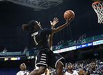 08 November 2013: High Point's Dejuan McGaughy. The University of North Carolina Greensboro Spartans played the High Point University Panthers in a 2013-14 NCAA Division I men's college basketball game at the Greensboro Coliseum in Greensboro, North Carolina. UNCG won the game 82-74.